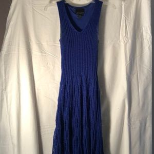 Blue lined sweater dress